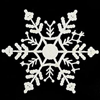 """Club Pack of 24 Shimmering Winter White Glitter Snowflake Christmas Ornaments 3.75"""""""