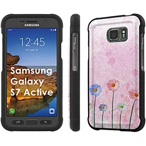 AT&T [Galaxy S7 Active] [5.1 Screen] Armor Case [NakedShield] [Black] Total Armor Protection [Shell Snap] + [Screen Protector] Phone Case - [Canvas Flower] for Sales