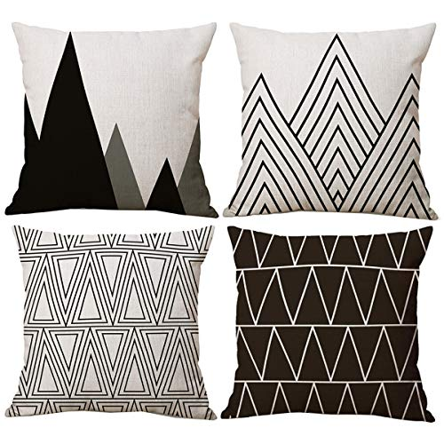 Pillow Modern Decorative (NYKKOLA Black White Modern Simple Geometric Style Linen Throw Pillow Covers Pack of 4, Decorative Pillowcase Cushion Cover for Sofa Bedroom Car 18 x 18 Inch 45 x 45 cm (Style 38))