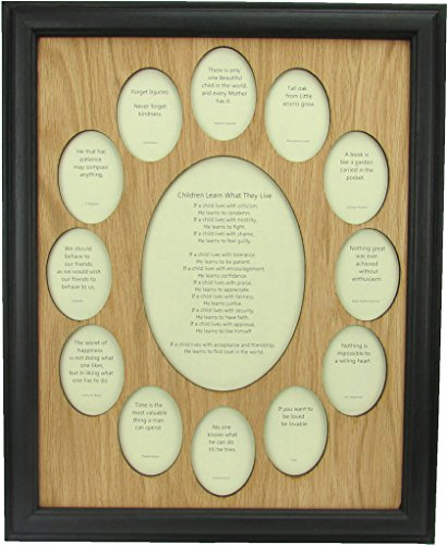 Northland Frames and Gifts Inc - School Years Picture Frame -School Photo Frame with Oval Picture Openings, Black Frame and Oak Wooden Matte