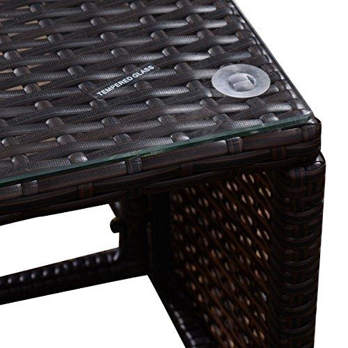 Tangkula 3 PCS Outdoor Rattan Furniture Sofa Set Lounge Chaise Cushioned Patio Garden by Tangkula (Image #6)