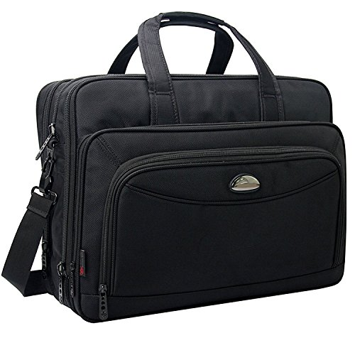 Travel Briefcase with Organizer, Expandable Large Hybrid Shoulder Bag, Water Resisatant Business Messenger Briefcases for Men and Women Fits 17 15.6 Inch Laptop, Computer, Tablet ()