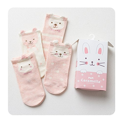 Huluwa Baby Socks 4 Pack Unisex Newborn Cartoon Soft Cotton Socks, Breathable and Anti-Skid, Pink