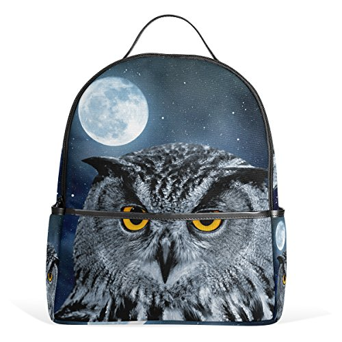 Grad Owl - LORVIES Eagle Owl Bubo Lightweight Canvas Kids School Backpack Book Bag for boys girls