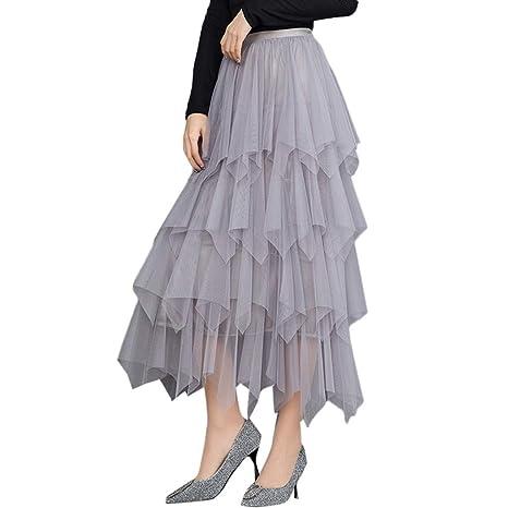 Reooly Falda de Ballet Plisada de Tul de Cintura Alta cómoda ...