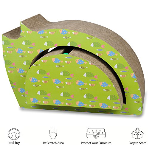 He&Ha pet Cat Scratcher Lounge with Ball Toy 2 in 1 Cardboard Scratching Posts Toys for Cats Kitty Scratch with Catnip Cute Cats Shape ()