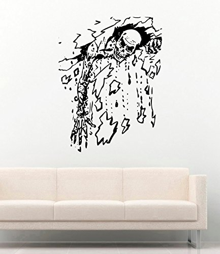 (Undead Skeleton Сlimbs from Wall Vinyl Decals Halloween Decor Stickers Vinyl Mural MK4816)
