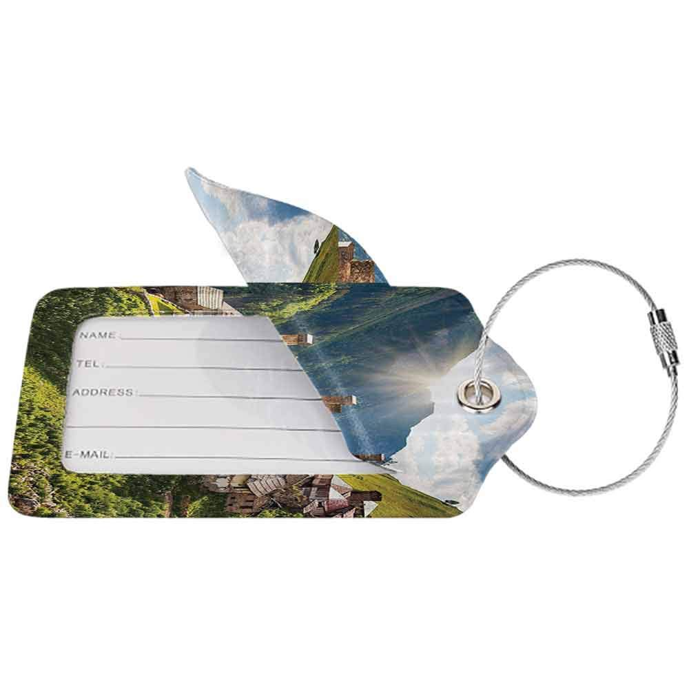 Durable luggage tag Farm House Decor Picturesque Mountain Town Spring Greenland Journey Sunny Rural Wonderland View Unisex Multi W2.7 x L4.6
