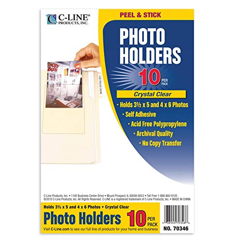 C-Line Peel and Stick Photo Holders, Holds 3.5 x  5 and 4 x 6 Inches Photos, Clear, 10 per Pack (70346) ()