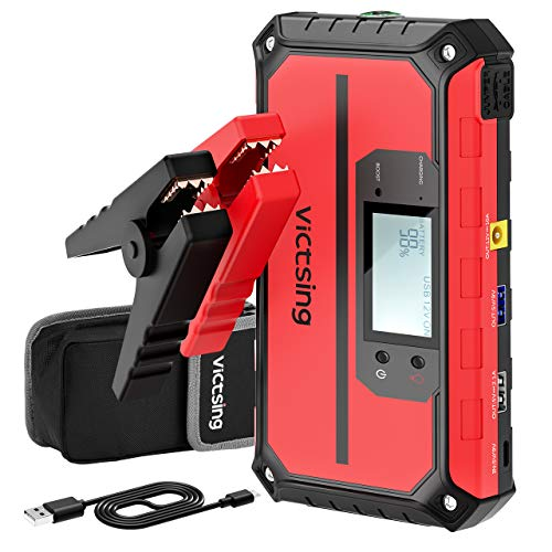 VicTsing 1000A Peak 20800mAh Portable Car Jump Starter (Up to 8.0L Gas, 6.0L Diesel Engine), 12V Auto Battery Booster, Compact Power Pack with Quick Charge 3.0 Output, Built-in Compass and LED Light