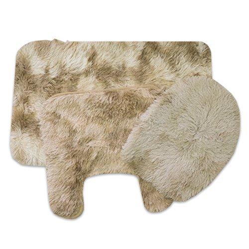 Sweet Home Collection 3 Piece Long Hair Faux Fur Shag Bath Mat, Contour, Seat Cover Rug Set, Taupe