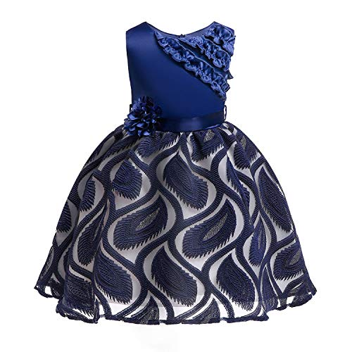One Shoulder Printed Dress for Girls Princess Flower Wedding Pageant Party Dresses,Red2,8]()