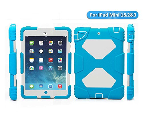 ACEGUARDER ipad mini 2/3 case for kids Rainproof Shockproof Waterproof Case for Apple Ipad Mini 3 Slim Military-Duty Case with Back Cover Standing [Blue-White]