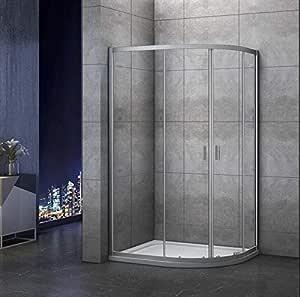 Mamparas de ducha Semicircular Puerta Corredera Gris Mate 5mm 120x80x185cm: Amazon.es: Bricolaje y herramientas