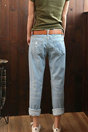 De Tamaño Pantalones La Mujer XL Denim Casual Ripped Tobillo Novio Plus Jeans Blue 8az8q1F