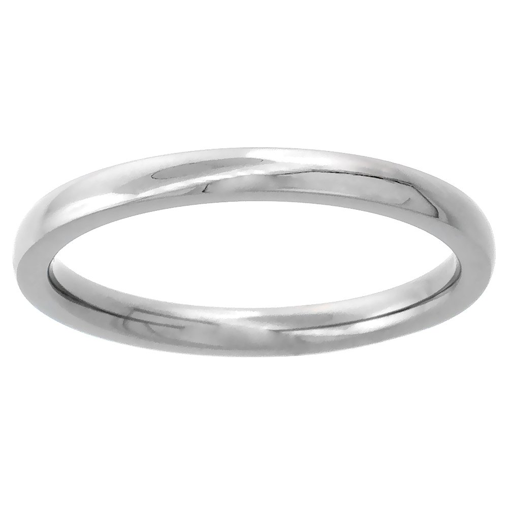 2mm Titanium Wedding Band / Thumb Ring Plain Thin Comfort-Fit High Polish, sizes 7.5