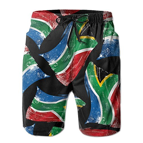 Africa Flag South Men Quick Dry Beach Shorts Lightweight Drawstring Swim Trunks With Pockets by Shorts Cf4e
