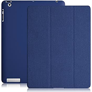 KHOMO - iPad 2 3 and 4 Generation Case - DUAL Series - Super Slim Twill Dark Blue Cover with Rubberized back and Smart Auto Wake Sleep Feature for Apple iPad 2, 3rd and 4th