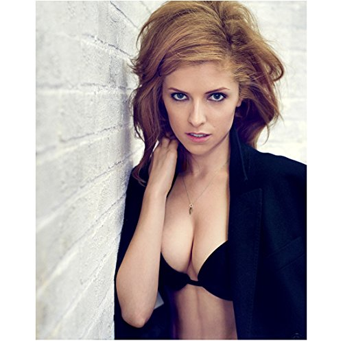 Anna Kendrick Posing by Wall Holding Neck 8 x 10 inch Photo