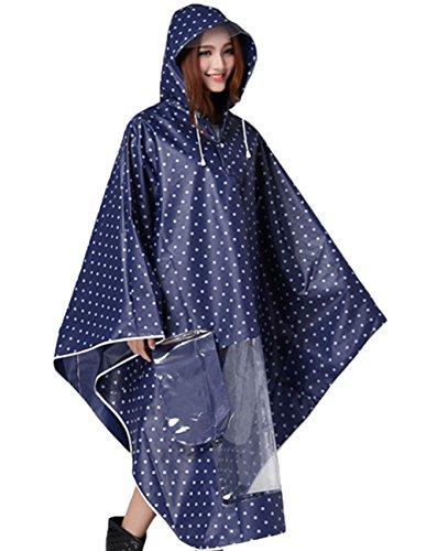 Cape Wateroroof Rain Poncho for Womens Raincoat Polka Motorcycle Rainwear Blue Buauty xwfI1qFCw