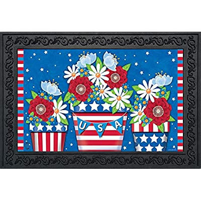 "Briarwood Lane American Planter Patriotic Doormat Primitive Indoor Outdoor 18"" x 30"" : Garden & Outdoor"