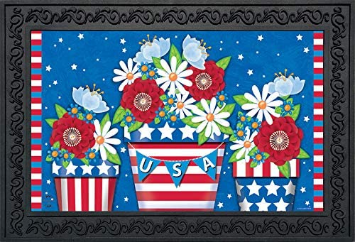 Briarwood Lane American Planter Patriotic Doormat Primitive Indoor Outdoor 18 x 30