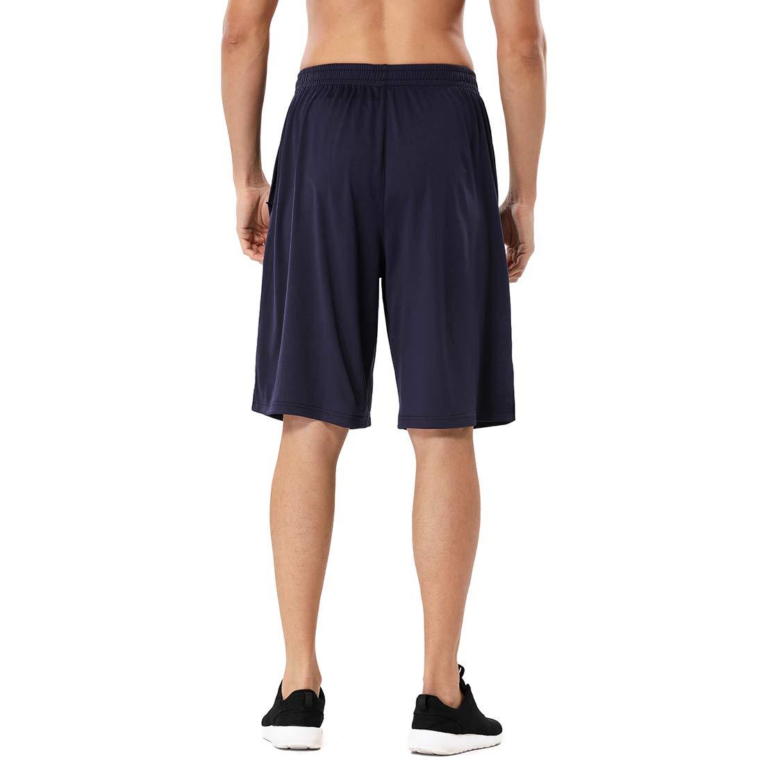 Devoropa Mens Athletic Basketball Shorts Loose-Fit Performance Sports Workout Shorts Zipper Pockets