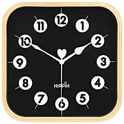 HIPPIH Silent Square Wall Clock - Wood 9 inch Non Ticking Digital Quiet Sweep Decorative Vintage Wooden Clocks Office/Kitchen/Bedroom/Living Room