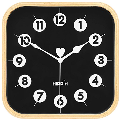 Silent Square - HIPPIH Silent Square Wall Clock - Wood 9 inch Non Ticking Digital Quiet Sweep Decorative Vintage Wooden Clocks Office/Kitchen/Bedroom/Living Room