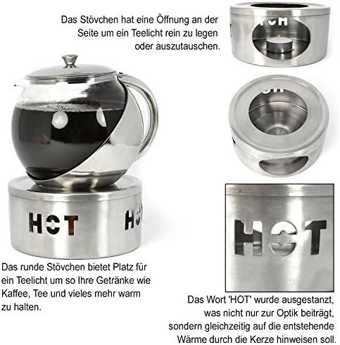 COM-FOUR® 2x calentador para teteras y cafeteras de acero ...