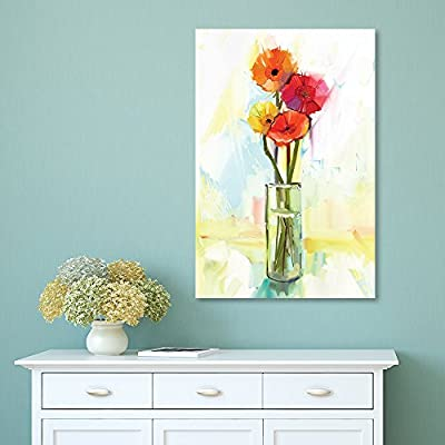 Pretty Craft, Oil Painting Style Flowers in a Glass Vase, Professional Creation