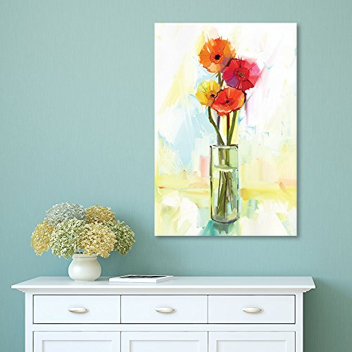 Oil Painting Style Flowers in a Glass Vase