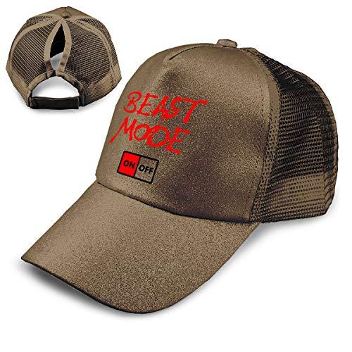 LaoJi Beast Mode Ponytail Messy High Bun Hat Ponycaps Plain Baseball Visor Cap ()
