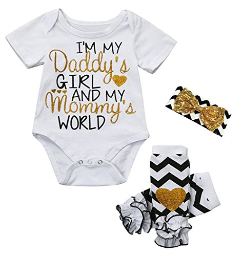 Seven Young 3PCS Outfit Set,Newborn Toddler,Baby Girl Clothes Romper+ Leg Warmers+ Bow Headband Spring Summer (White#2, 6-12 Months) ()