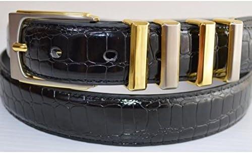 ●サイズ調整可能●艶有りクロコダイル型押し● 大きいサイズ クロコダイル型押艶有4連 帯幅3cm 〜ウエスト115cmまで対応 ロングサイズ/88014