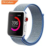 NCMASTER for Apple Watch Band 38mm 42mm Women Men iWatch band Nylon Sport Loop Band Series 1 2 3 Apple Watch Band Replacement Parts Watch Strap (1 or 6 packs) (tahoe blue, 42mm)