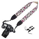 SODIAL(R) Camera Neck Shoulder Strap Belt for Nikon / Canon / Sony / Olympus / Pentax / Mini8 / Mini7s / Mini25 / Mini 50s / Mini 90 / DSLR / SLR / DC / Fujifilm Instax Camera - Flower Floral White