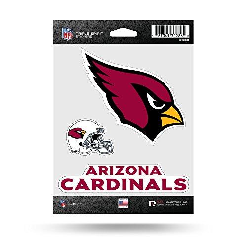 Rico Industries NFL Arizona Cardinals Die Cut 3-Piece Triple Spirit Sticker Sheet