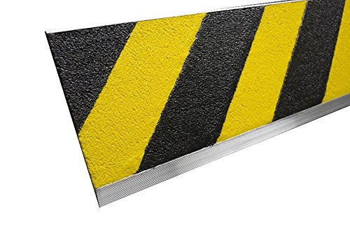 MASTER STOP 407PS10048017 Flat Safety Plate, Yellow / Black, 7'' depth, 48'' length, Extruded aluminum, mineral abrasive anti-slip surface by MASTER STOP