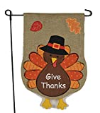 Thanksgiving Garden Flag With Give Thanks Turkey – 12×18 on Burlap – Fall Garden Flag, Home Garden Flag, Autumn Garden Flag