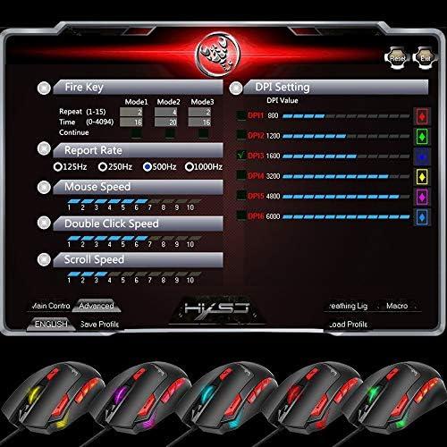 YHML Souris Gaming Filaire, Souris RGB LED, 6000 DPI, capteur Laser de Haute précision, kit de réglage du Poids, 9 Boutons, pour PC Windows/Jeux pour Ordinateur Portable-Noir