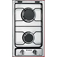 Verona VECTG212FDW 12 Gas Cooktop With 2 Sealed Burners Front Controls Electronic Ignition Emerald Steel Grates and Porcelain Caps In