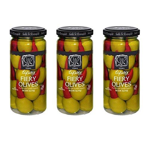 Sable & Rosenfeld Cocktail Garnishes - Earth Kosher - Vodka Tipsy Fiery Olives - 3 Pack (5 oz (Pepper Vodka)
