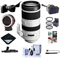 Sony 70-400mm F4-5.6 G Series SSM Super Telephoto Lens for A Alpha DSLR Cameras Bundle With 77mm Filter Kit, FocusShifter DSLR Follow Focus, Flex Lens Shade, Peak Lens Changing Kit Adapter, And More