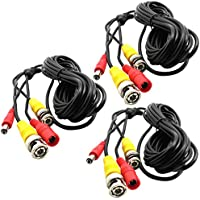 3-Packs 16Ft. Black, Pre-made All-in-one BNC Video and Power Cable Wire with Connector DC 2.1mm for CCTV Surveillance Security Camera
