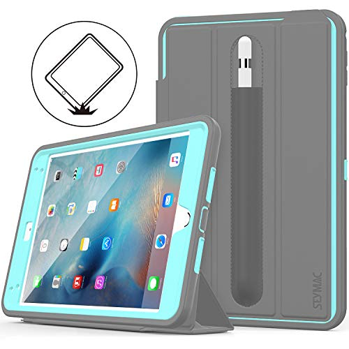 iPad Mini 5 Case, iPad Mini 4 Case, SEYMAC Stock Shock Proof Heavy Duty Full Body Smart Cover, Auto Sleep Wake with Leather Stand Feature for iPad Mini 5th 2019/ 4th Generation 2015 (Sky Blue/Gray) (Best Stocks Under 50 Dollars 2019)