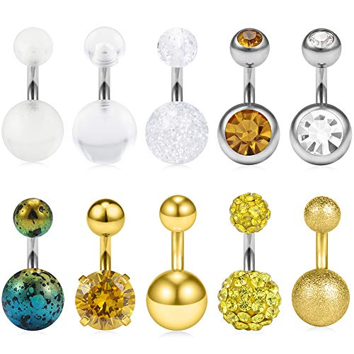 (Ruifan 10PCS 14G 6mm 1/4 Inch 316L Surgical Steel CZ Short Belly Earring Navel Button Rings Set - Gold)