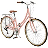 Critical Cycles Beaumont-7 Seven Speed Lady's Urban City Commuter Bike, 38cm, Blush Pink, 38cm/Small