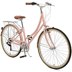 Retrospec by Westridge Critical Cycles Beaumont 7 Seven Speed Lady's Urban City Commuter Bike; 38cm, Blush Pink, 38cm/Small