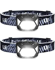 LE LED Headlamp, Super Bright Battery Operated Head Lamp, White & Red Light and 6 Lighting Modes, Compact and Lightweight, Waterproof Headlamp Flashlight for Camping Hunting Climbing Running Outdoor, 2 Packs
